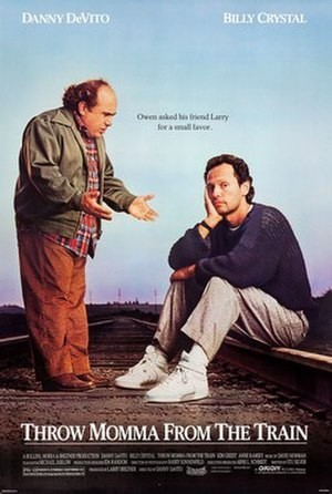 Throw Momma from the Train promotional poster with Danny DeVito and Billy Crystal
